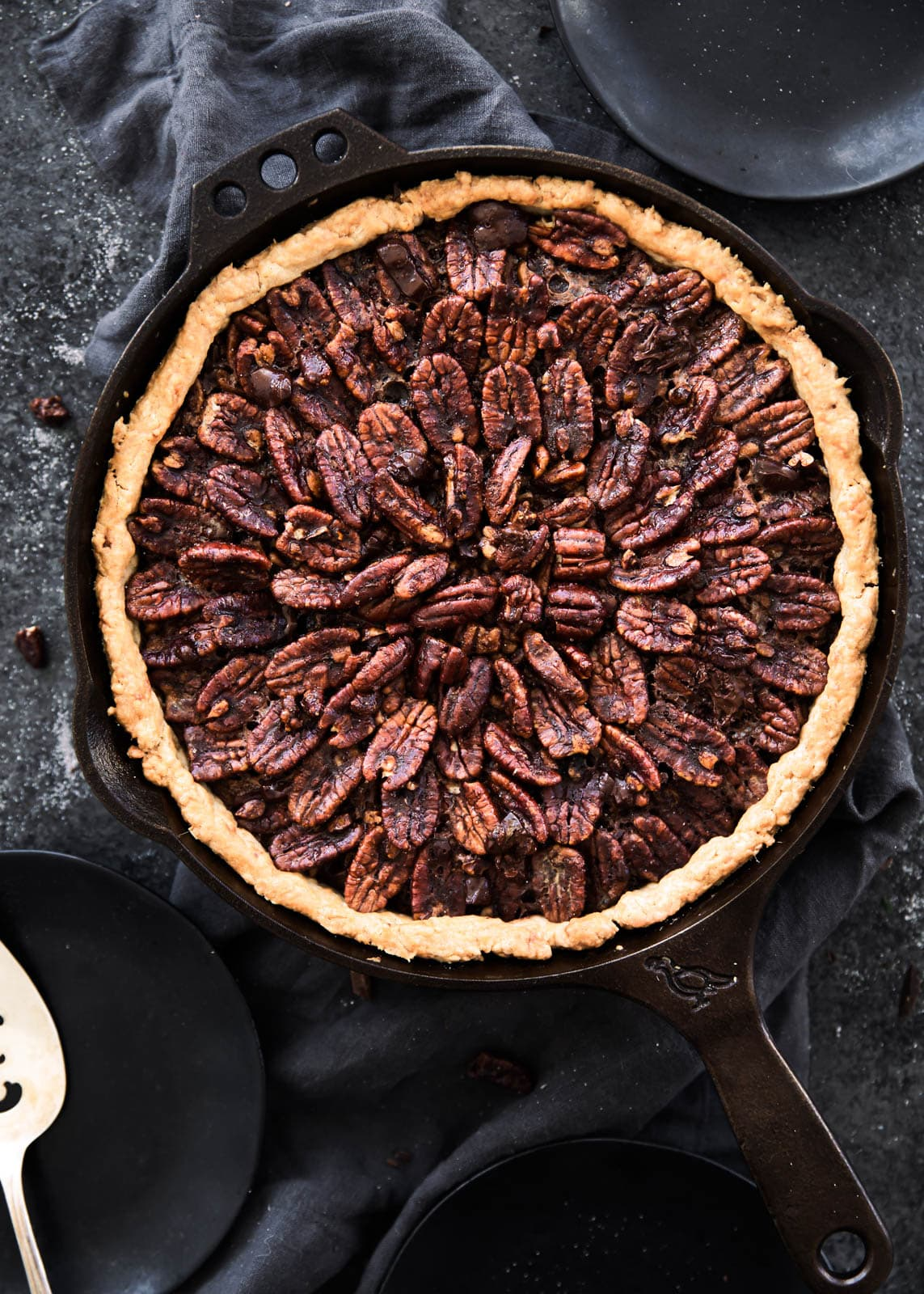 Deep Dish Double Chocolate Pecan Skillet Pie - Broma Bakery