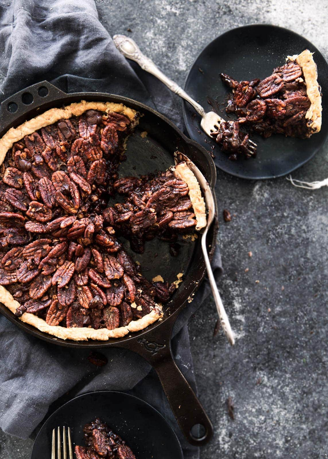 Deep Dish Double Chocolate Pecan Skillet Pie. Thanksgiving will never be the same again.