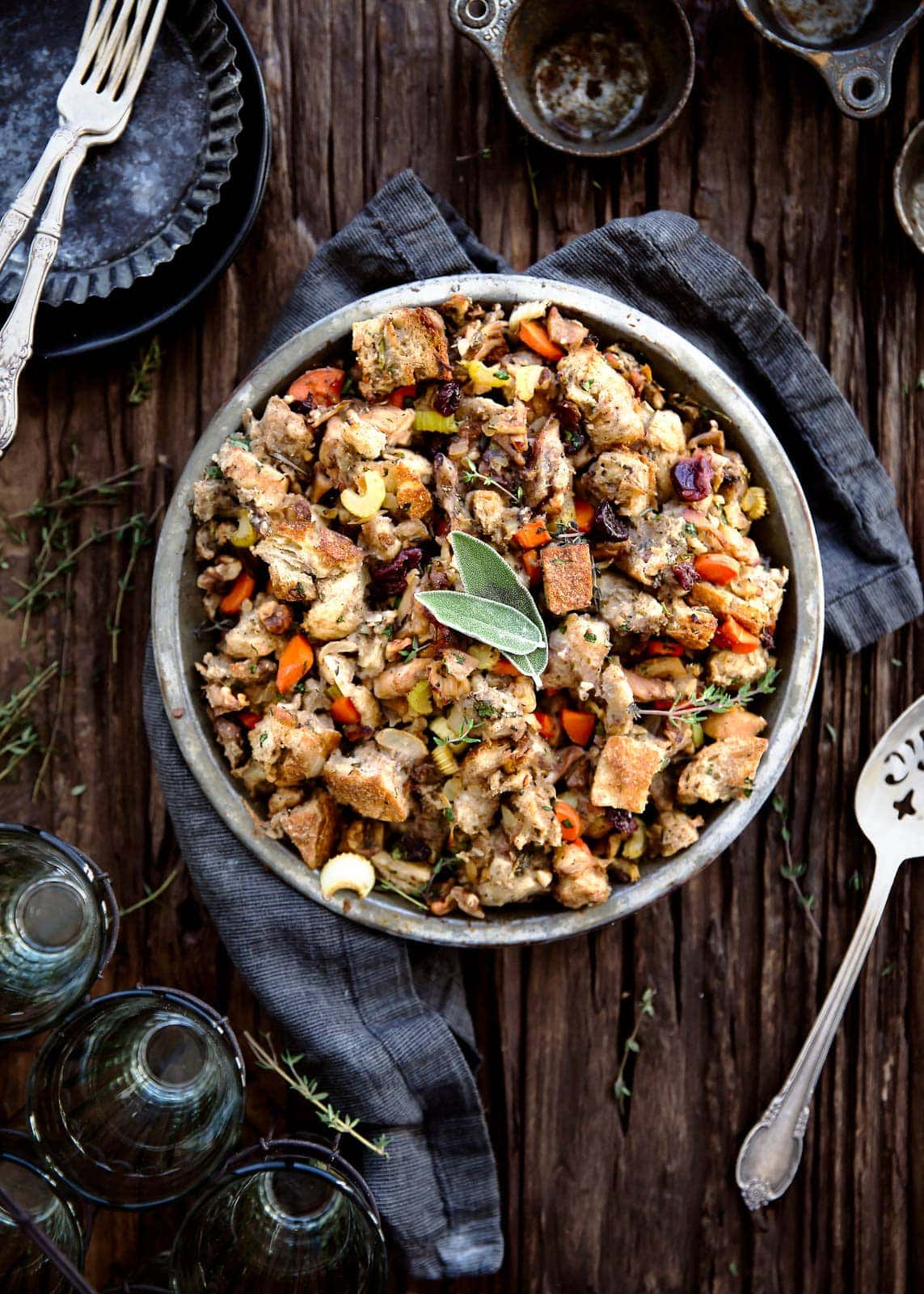 The best part of Thanksgiving is stuffing. So why not make the ultimate Thanksgiving stuffing with sourdough, dark meat chicken, dried cherries, walnuts, and loads of herbs?