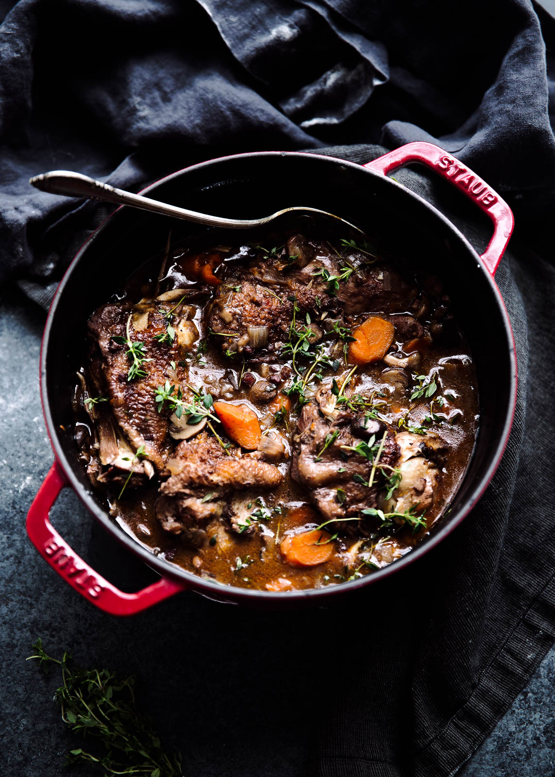 Coq Au Vin in large dutch oven