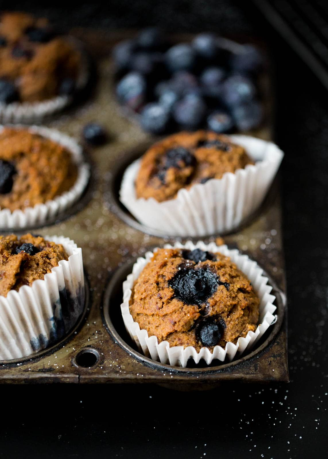 blueberry bran muffins in paper liners