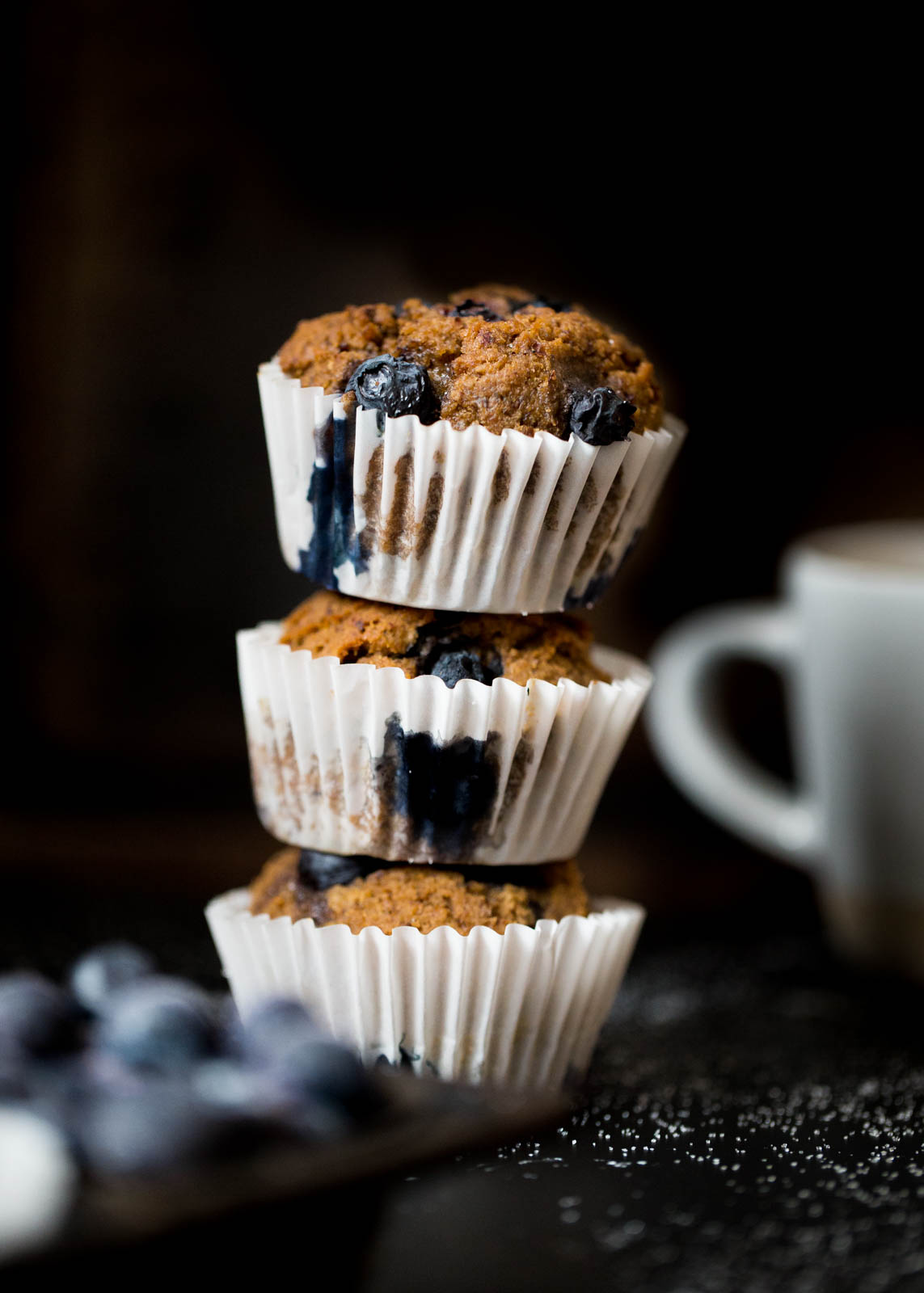 stack of blueberry bran muffins