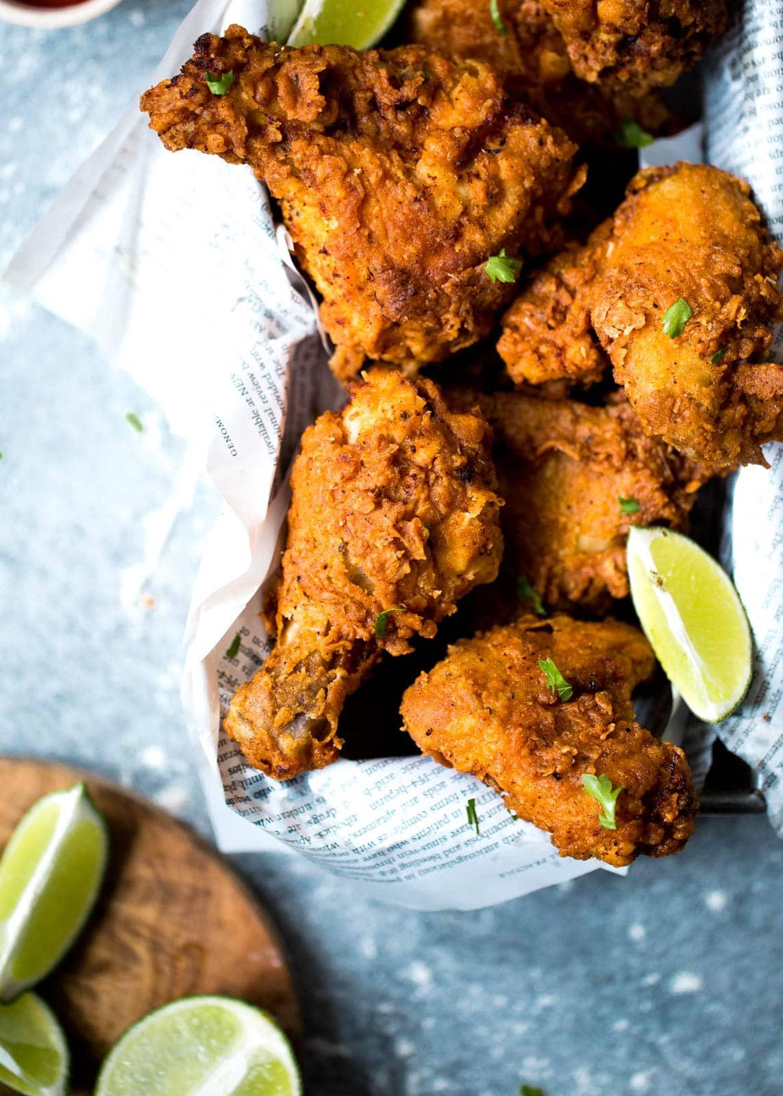 buttermilk fried chicken in a basket