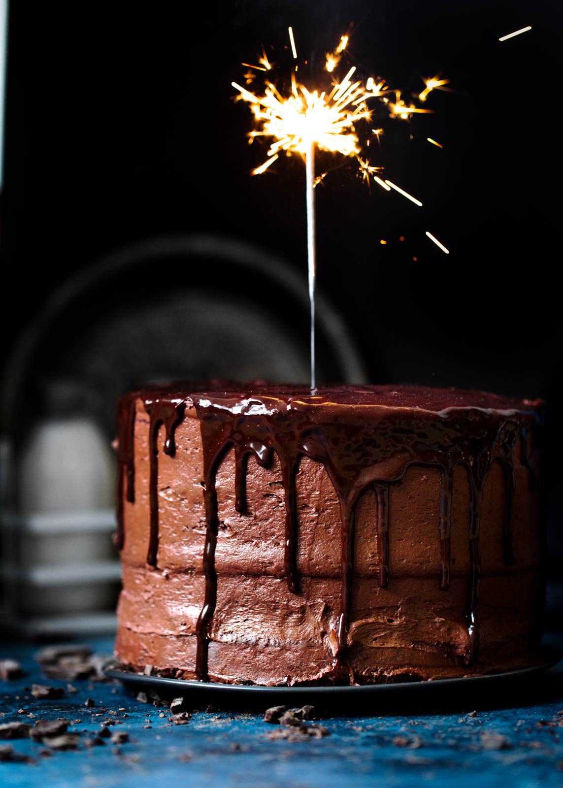 Chocolate Mocha Cake with sparkler on top