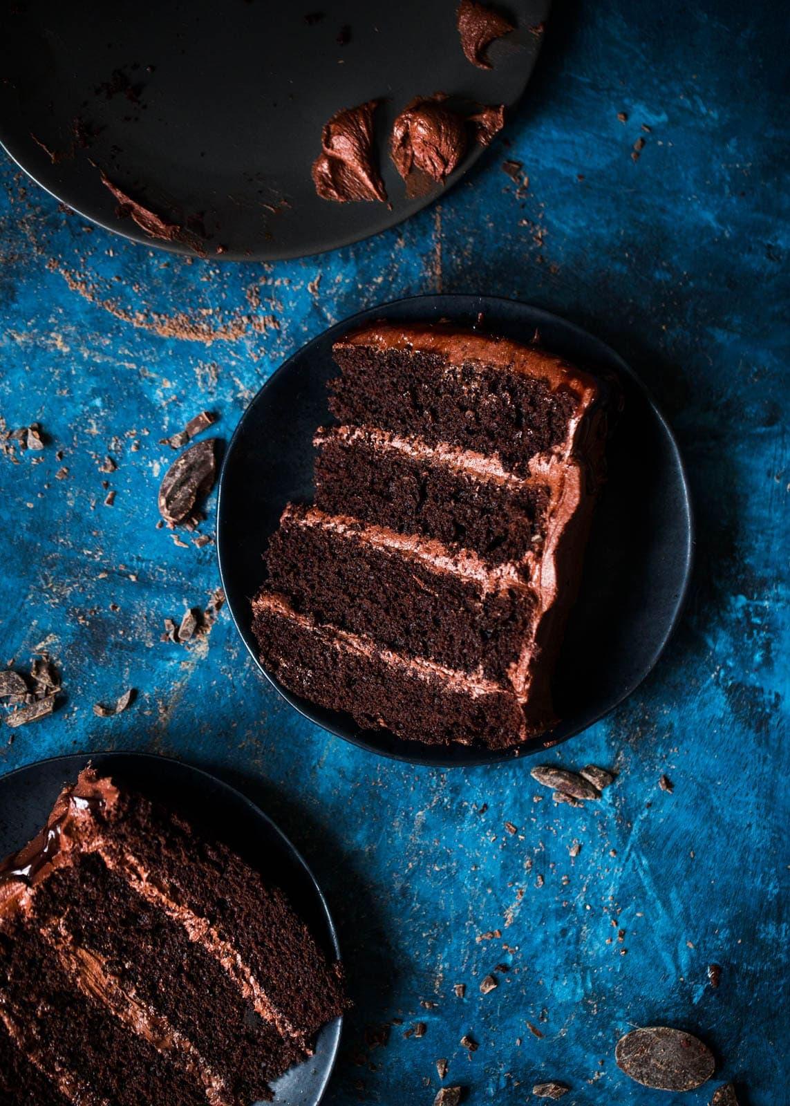 slices of Chocolate Mocha Cake on plates