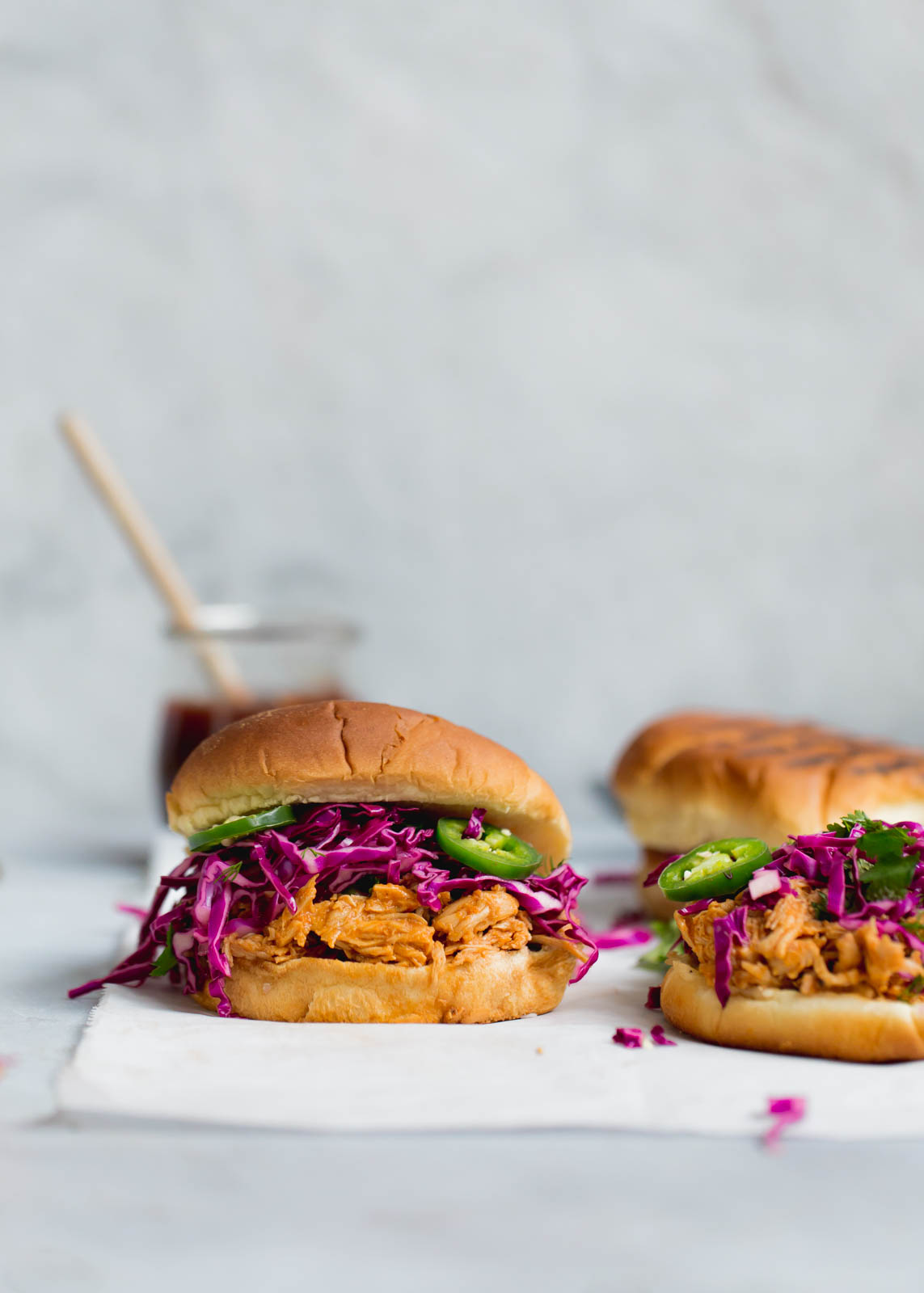 Slow Cooker Asian BBQ Pulled Chicken Sandwiches