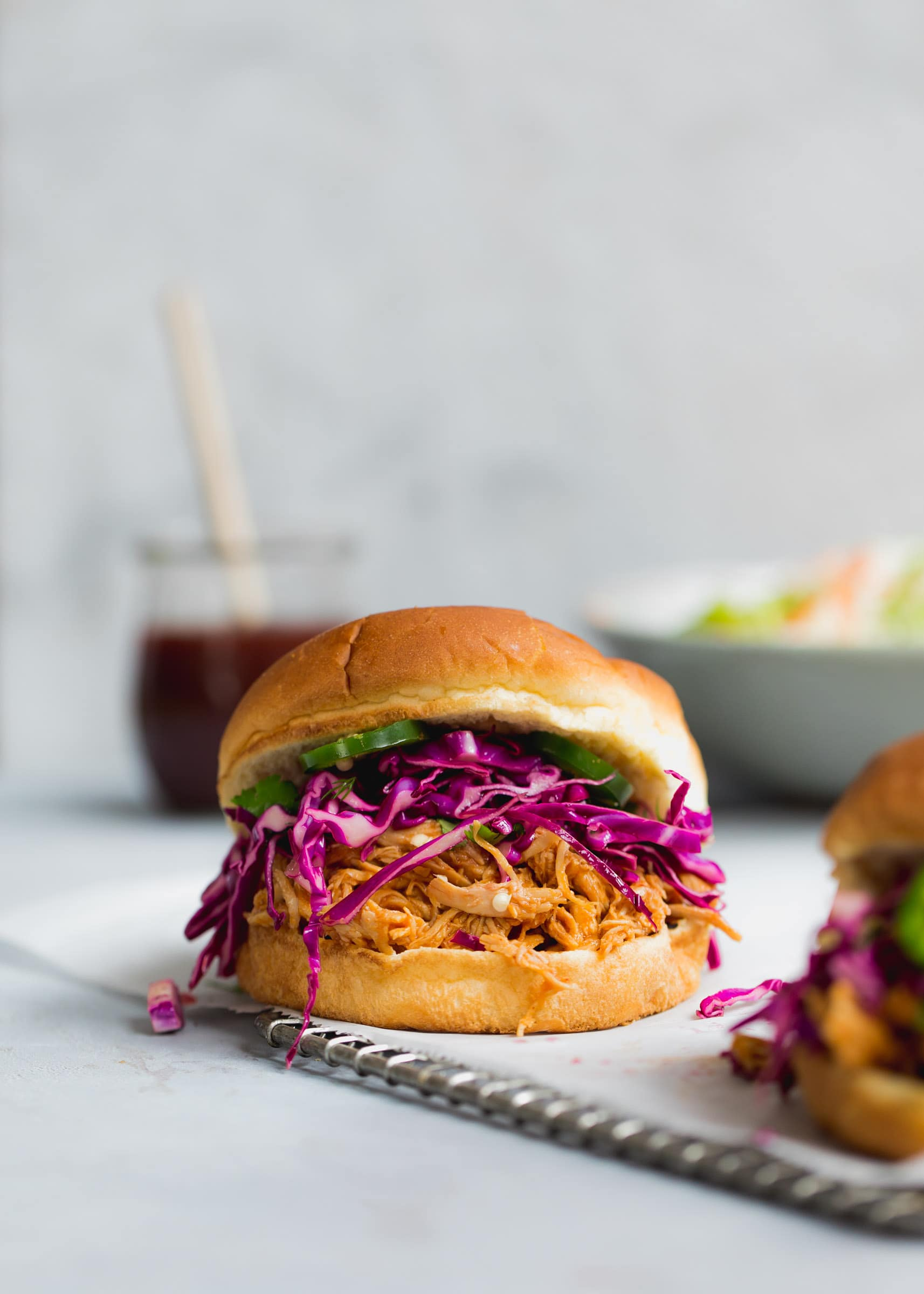 Slow Cooker Hoisin Shredded Chicken Sandwich With Asian ...