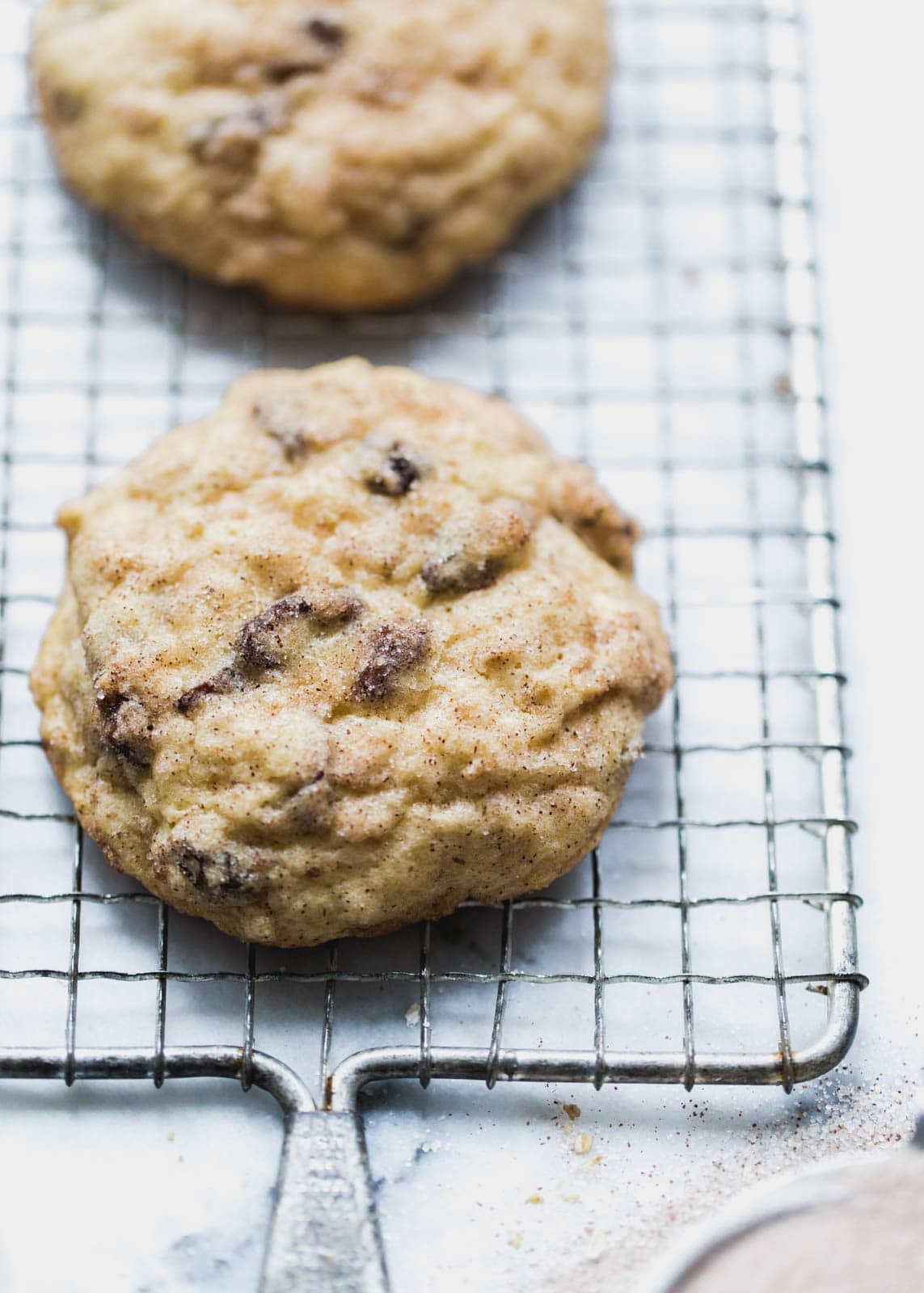 Oatmeal Raisin Snickerdoodle Cookies on a wire rack