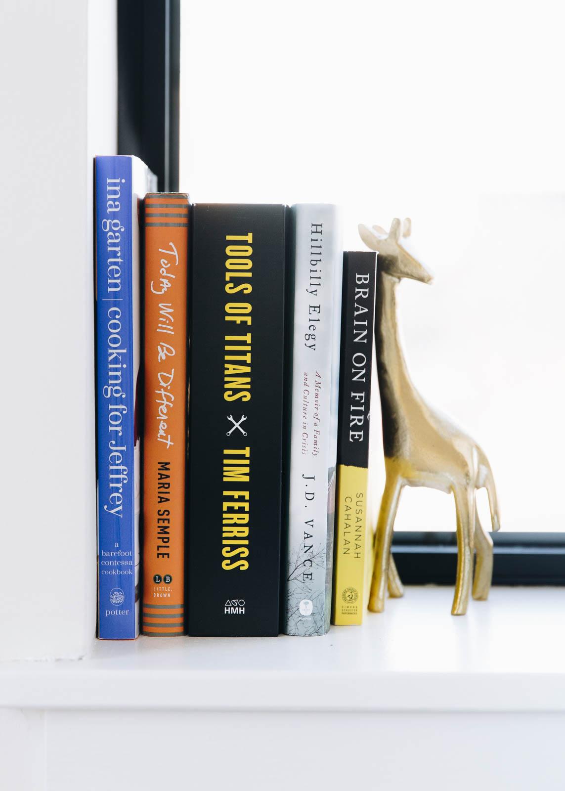 books on window sill