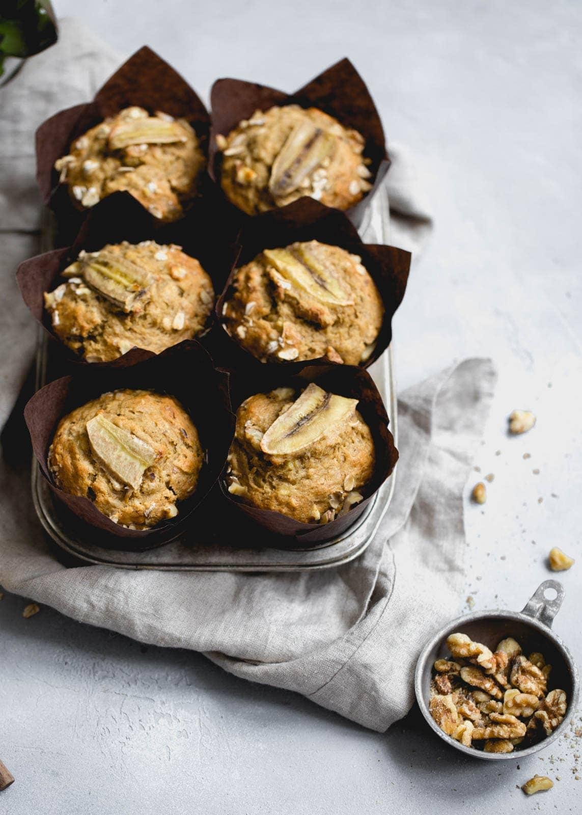 whole wheat banana muffins in muffin tin