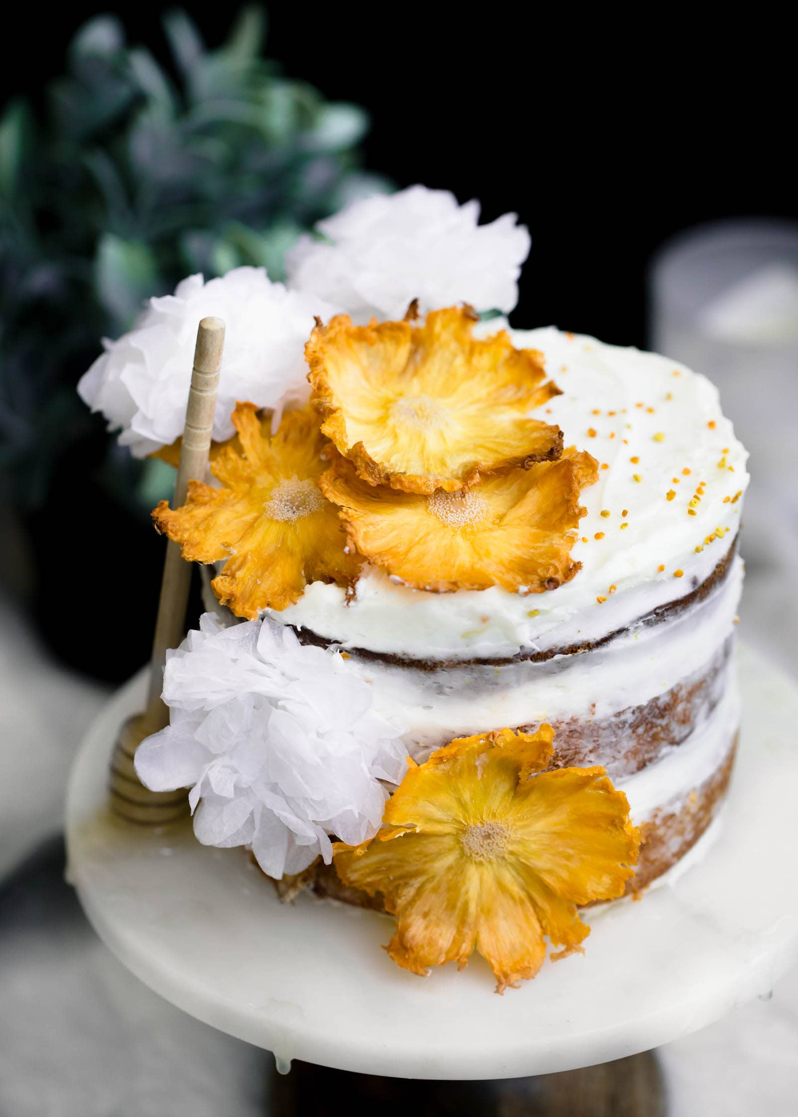 Hummingbird Cake with dried pineapple