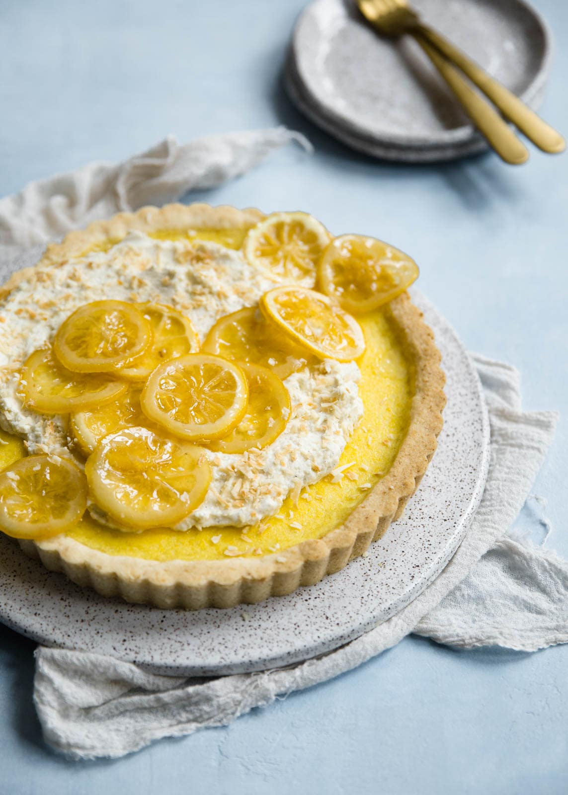 Lemon Coconut Tart with Whipped Vanilla Bean Crème Fraîche and candied lemons