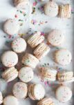 Homemade Cake Batter Macarons that taste like cake batter straight from the bowl. Plus, there's SPRINKLES!