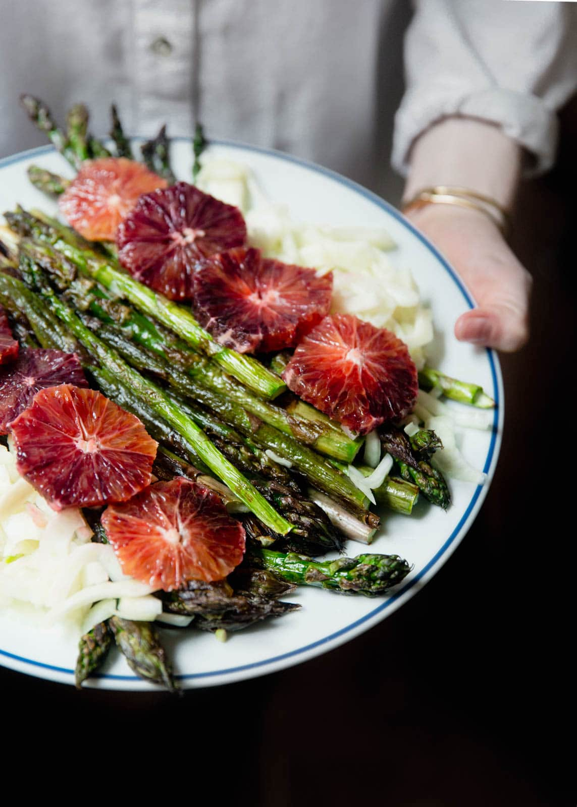 Roasted Asparagus with Blood Oranges and Fennel