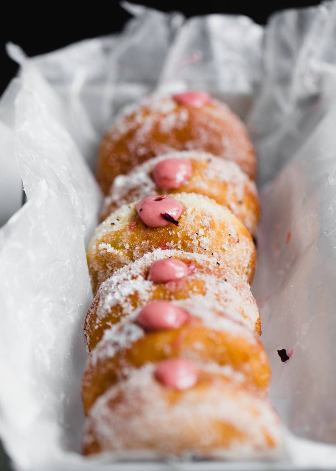 Golden and fried to perfection, these yeasted donuts are tossed in a hibiscus sugar and stuffed with a hibiscus pastry cream. Uhm, DROOL.