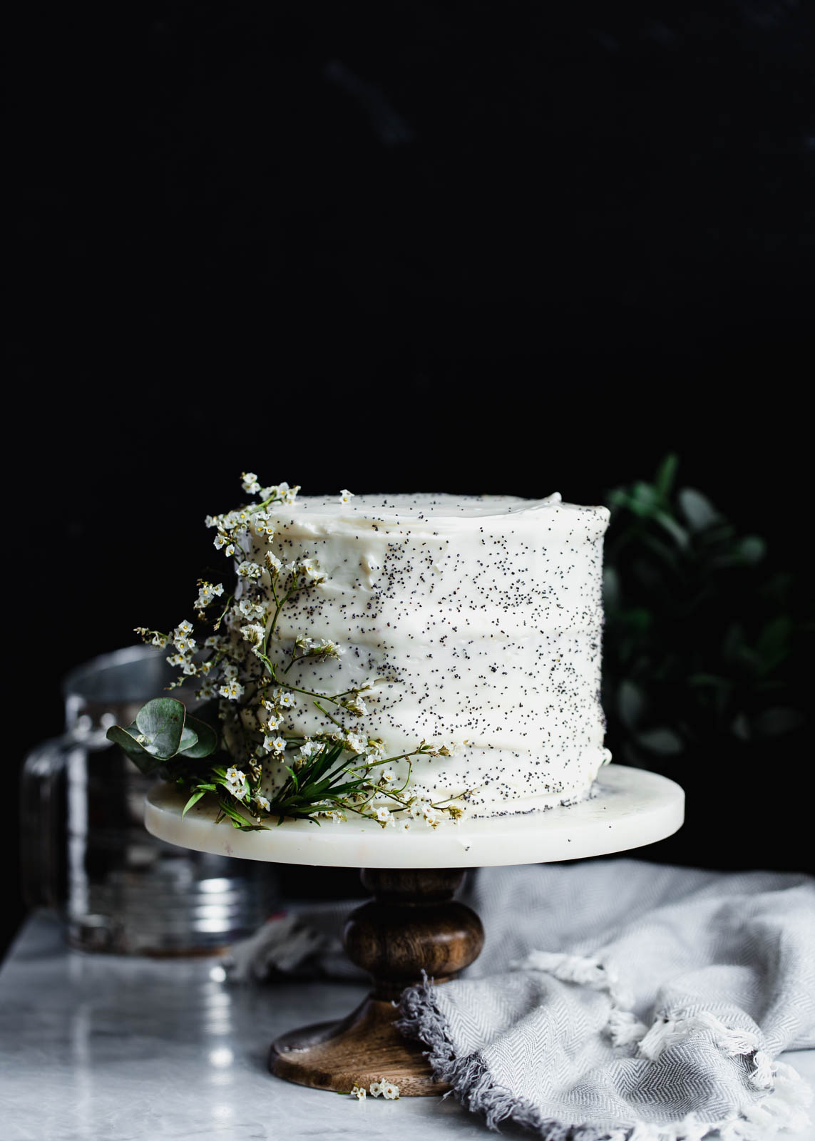 lemon poppy seed cake with flowers