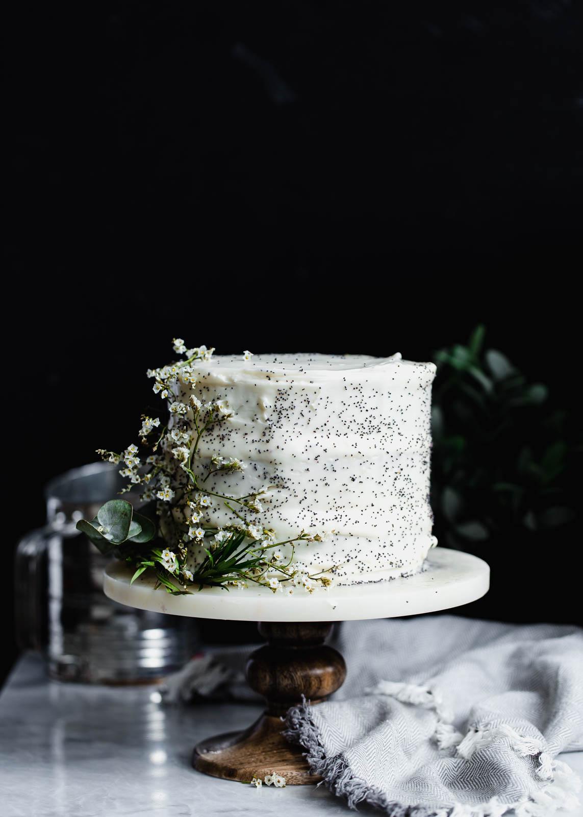 lemon poppy seed cake with flowers