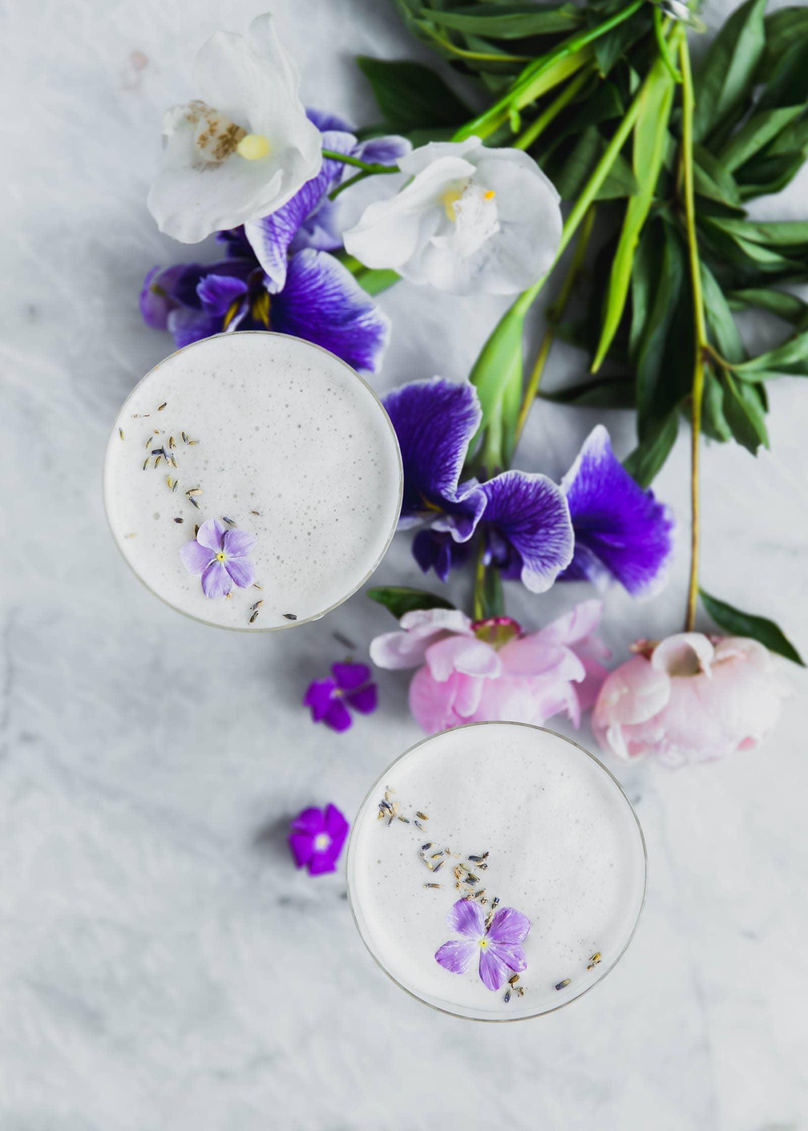Lavender Coconut Vodka Sours next to a bouquet