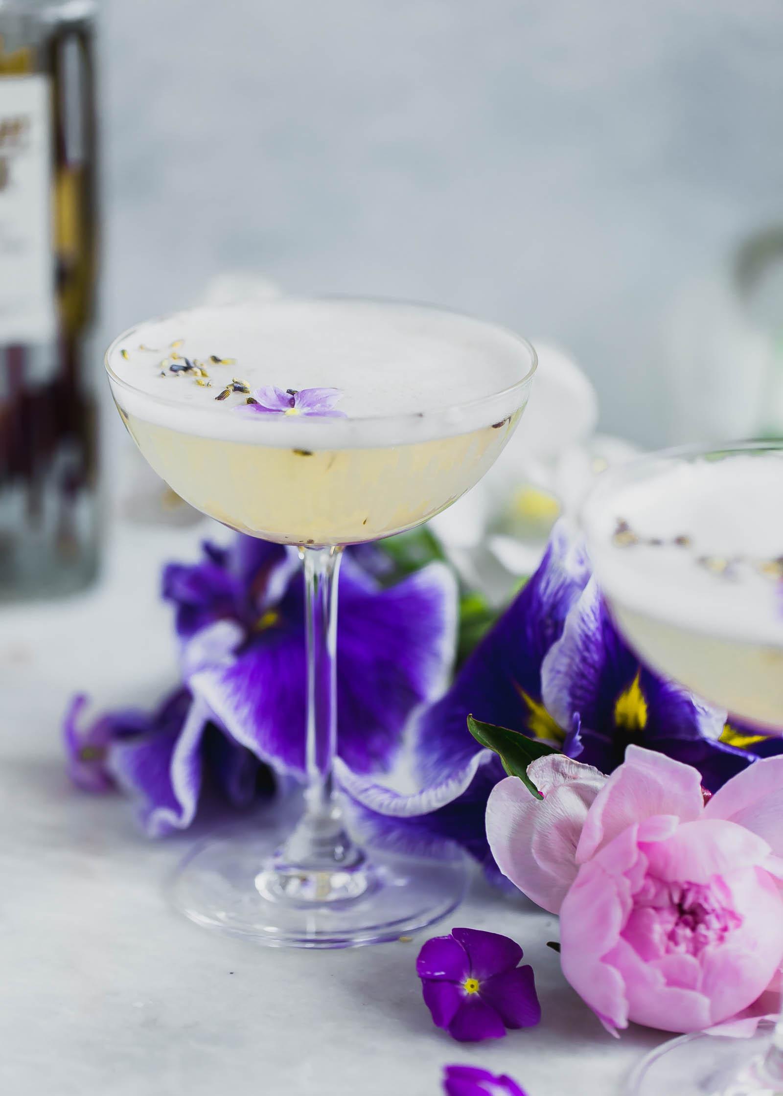 Lavender Coconut Vodka Sour in a glass