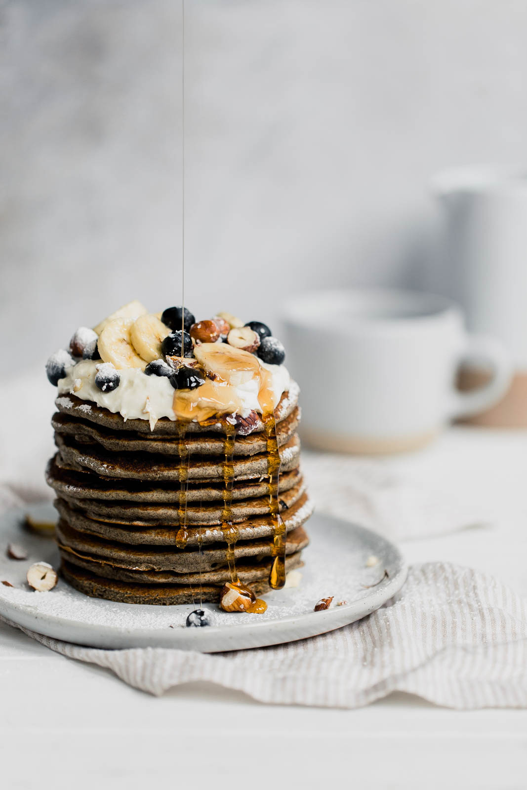 Naturally gluten-free blueberry buckwheat pancakes. Healthy and surprisingly delicious!