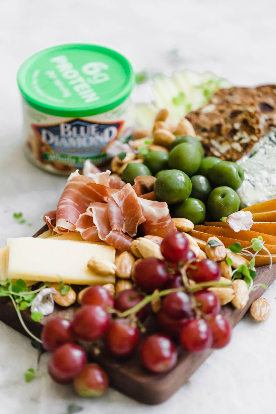 cheese board with marcona almonds