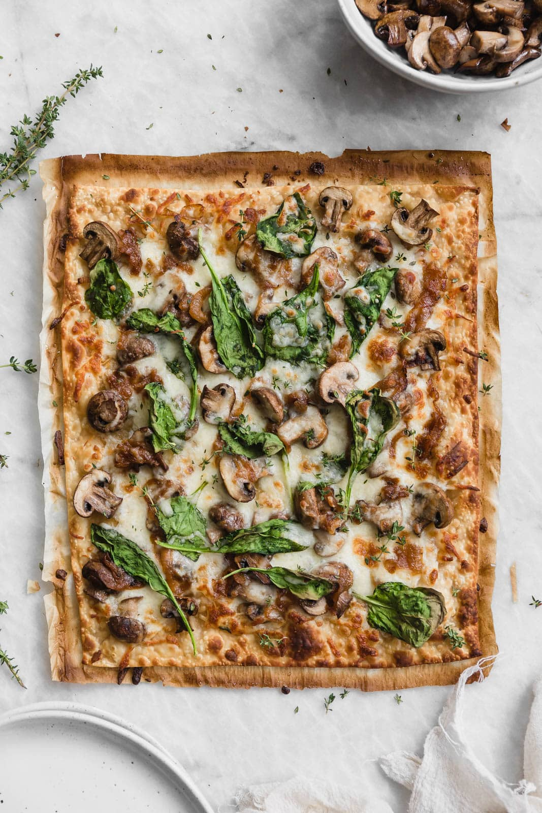 Caramelized Onion, Mushroom, & Spinach Pizza