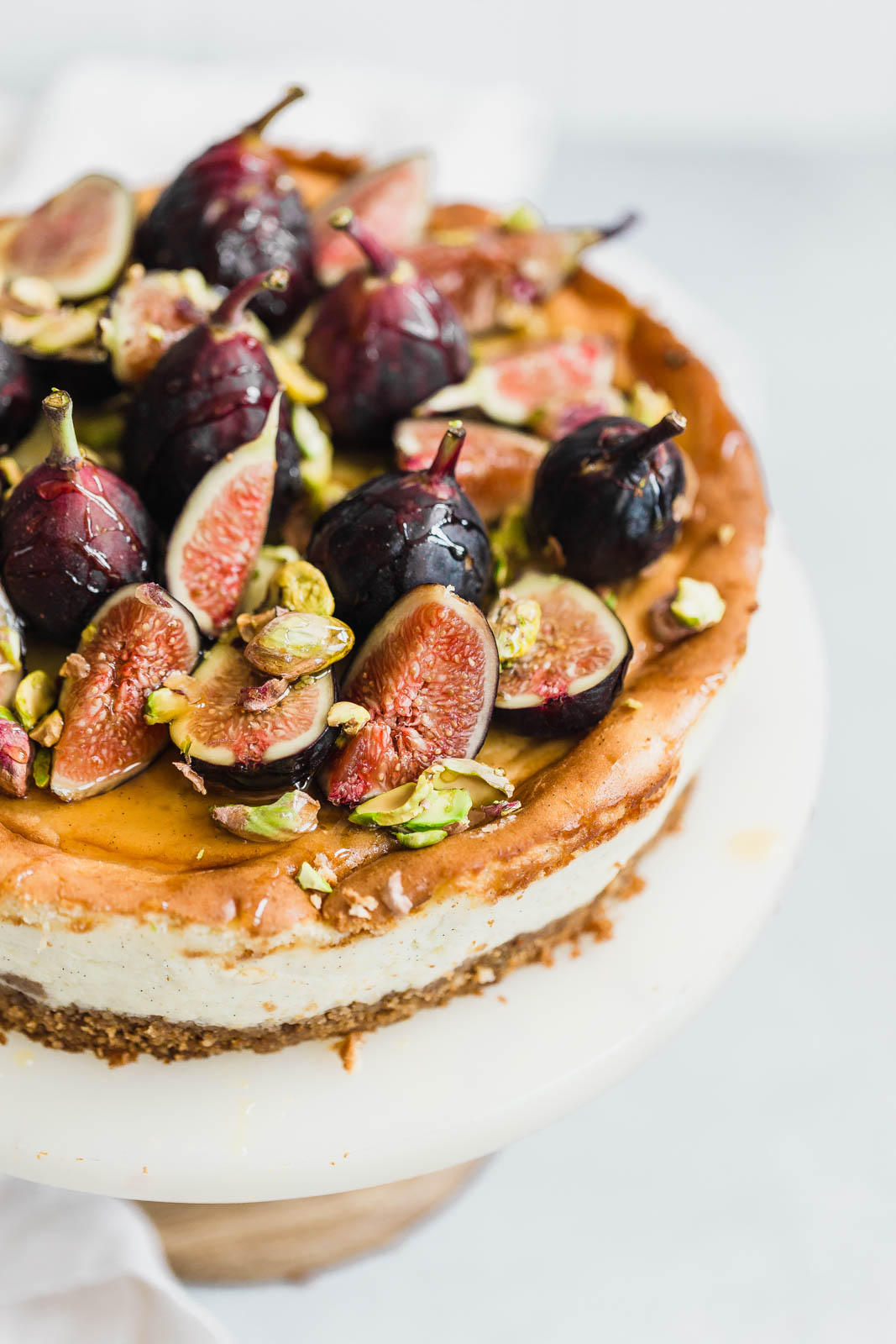 Vanilla bean cheesecake with figs, pistachios, and honey