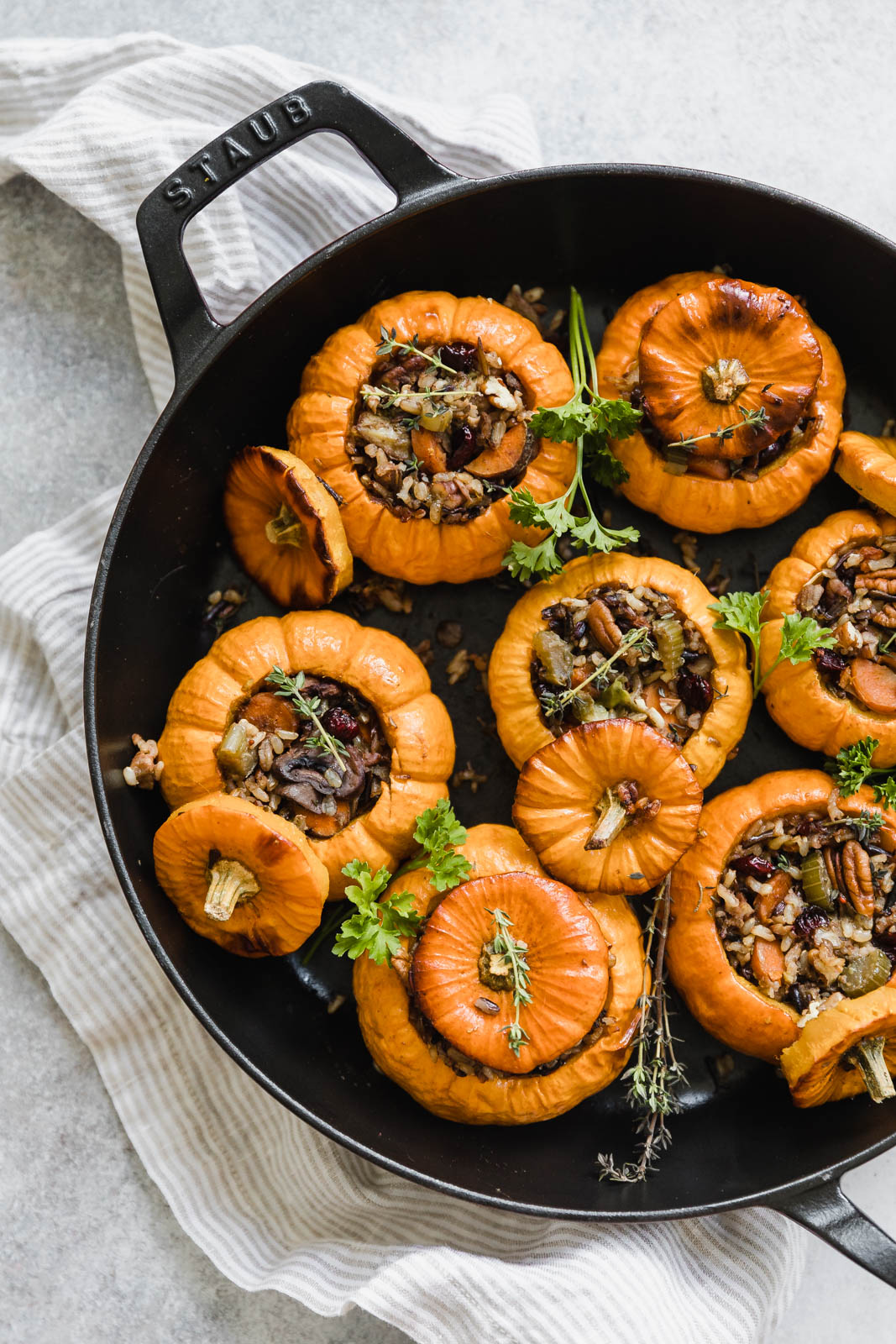 stuffed pumpkins in cast iron pan