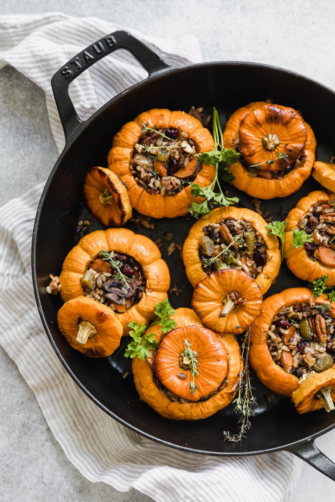 stuffed pumpkins in cast iron pan