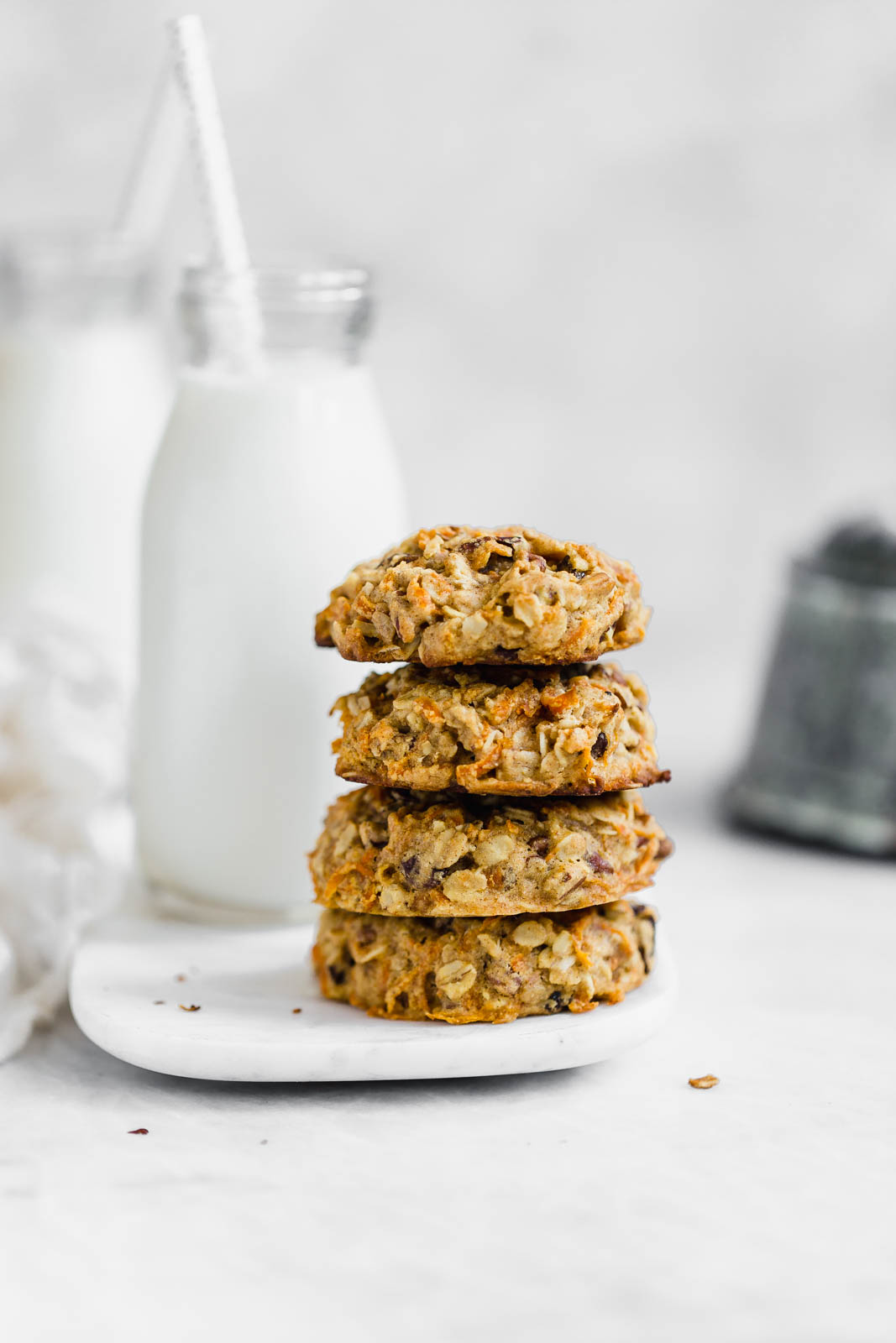 stacked breakfast cookies with milk