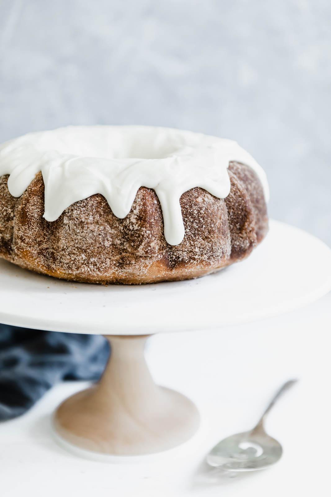 Cinnamon Bundt Cake on a cake stand