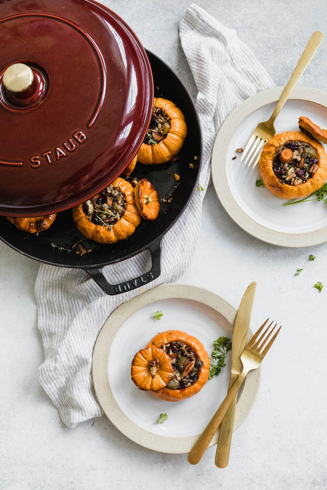 stuffed pumpkins on plates
