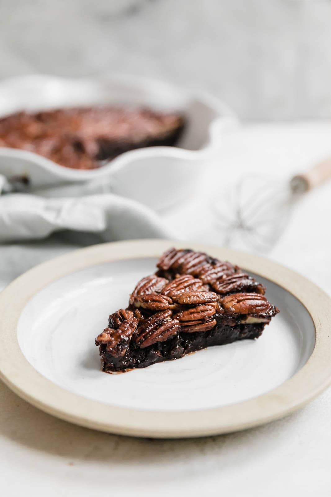 Brownie Pecan Pie on a plate