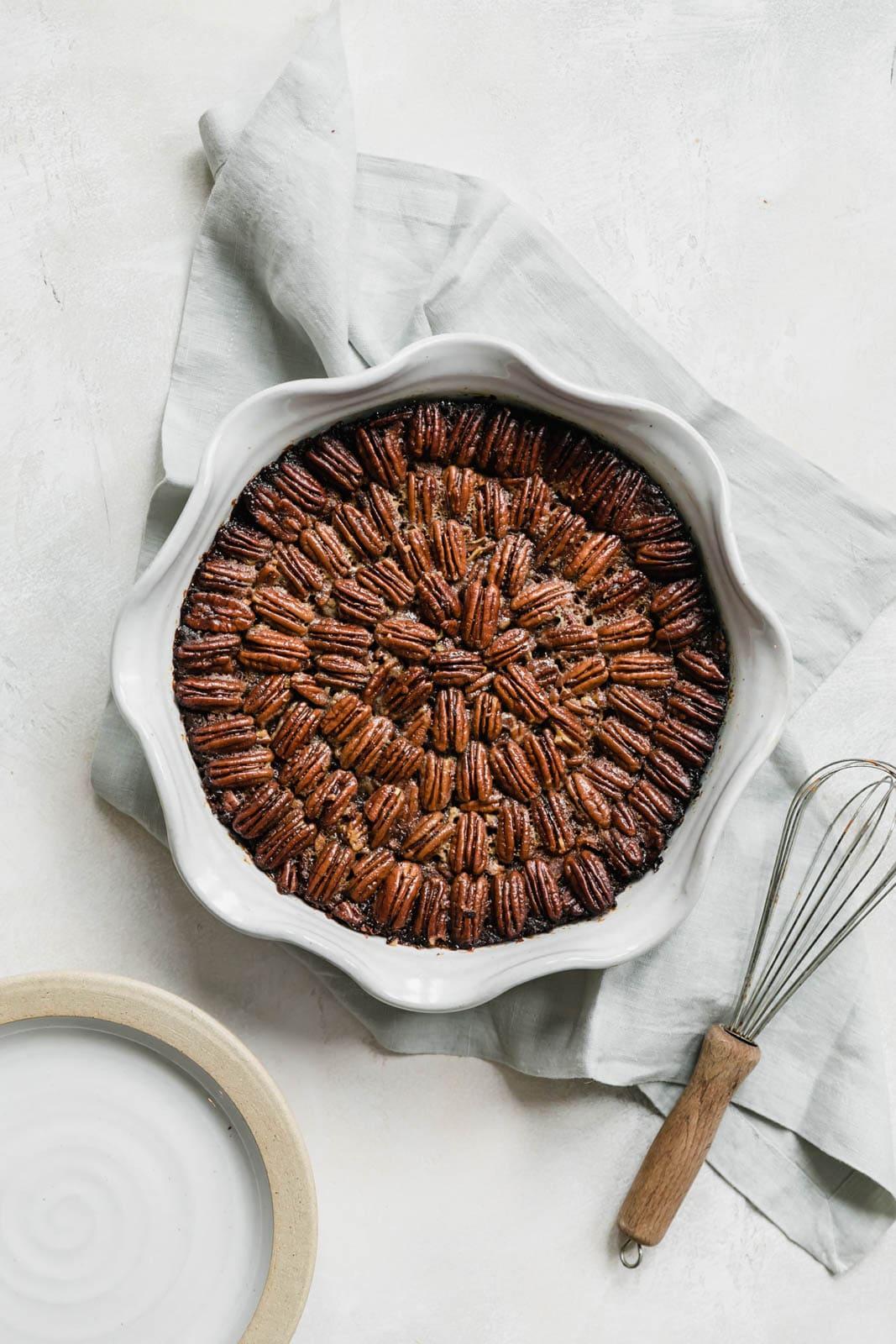 Brownie Pecan Pie in pie plate