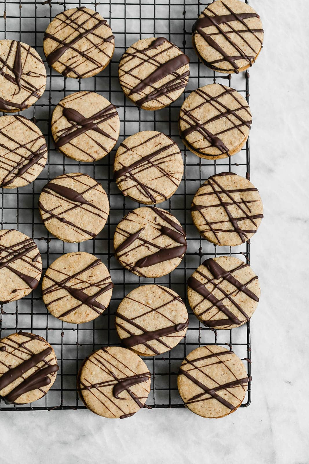 Hazelnut Espresso Sandwich Cookies on wire rack