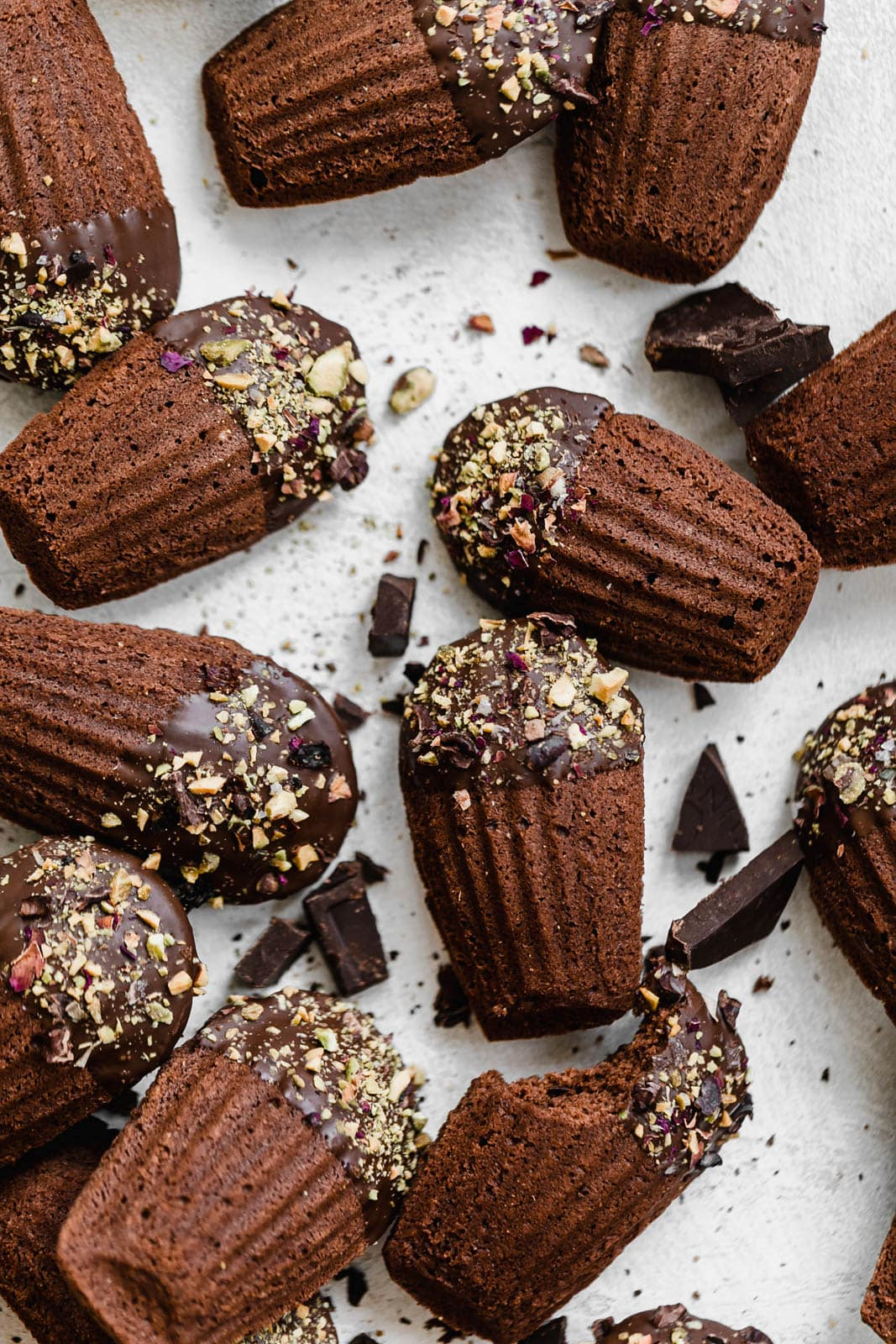 Chocolate-Dipped Chocolate Madeleines