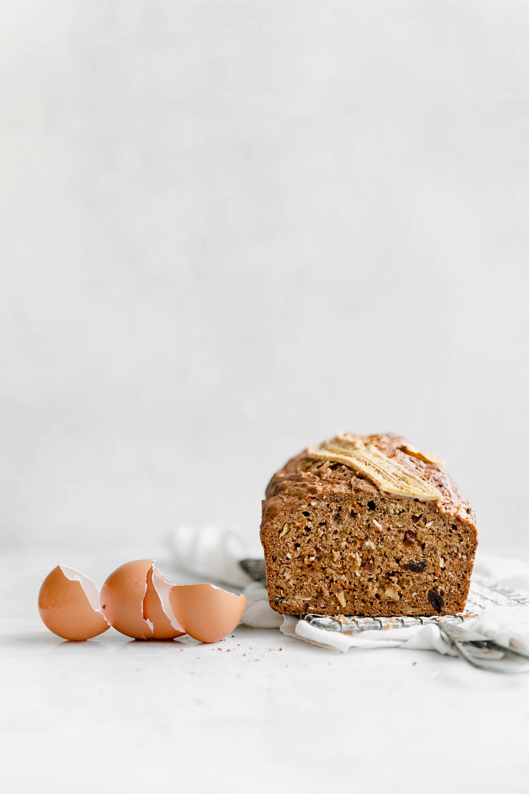carrot cake banana bread with egg shells