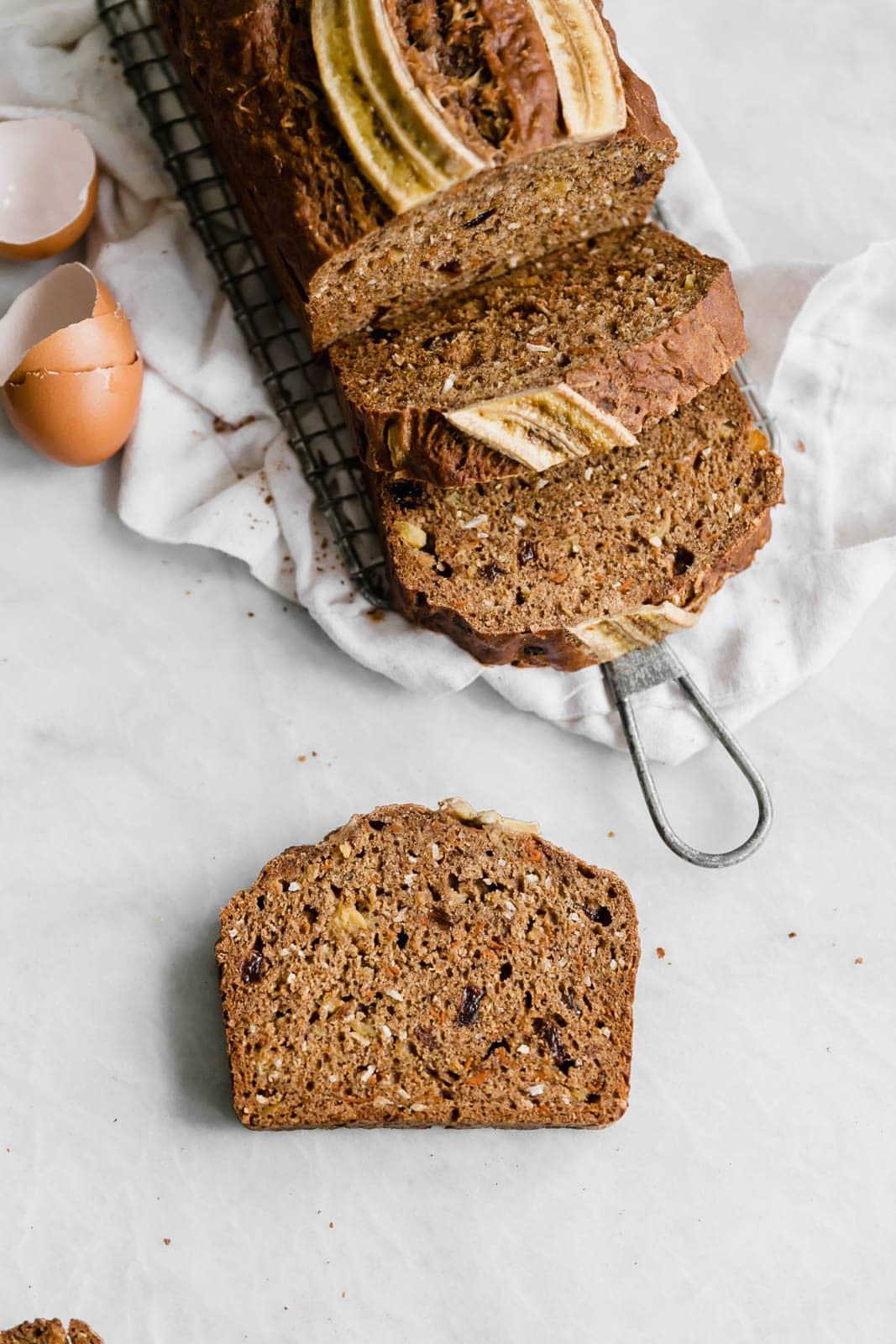 carrot cake banana bread on countertop