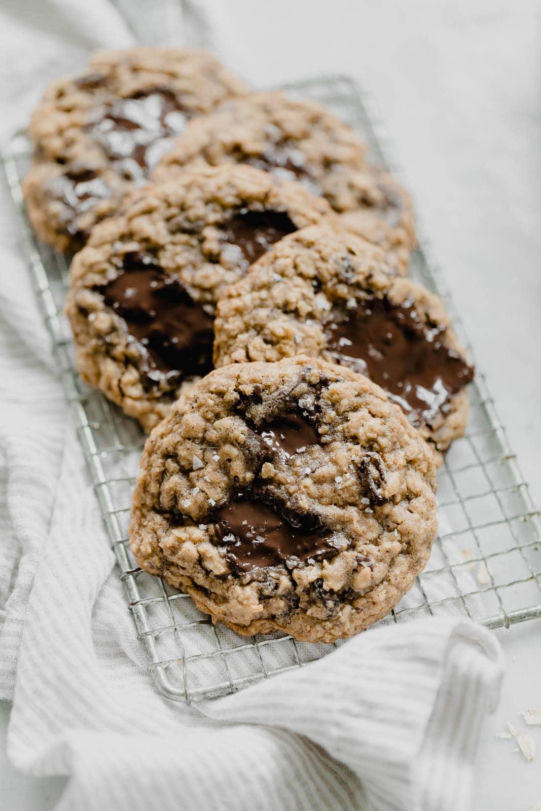 best oatmeal raisin cookies on a wire rack