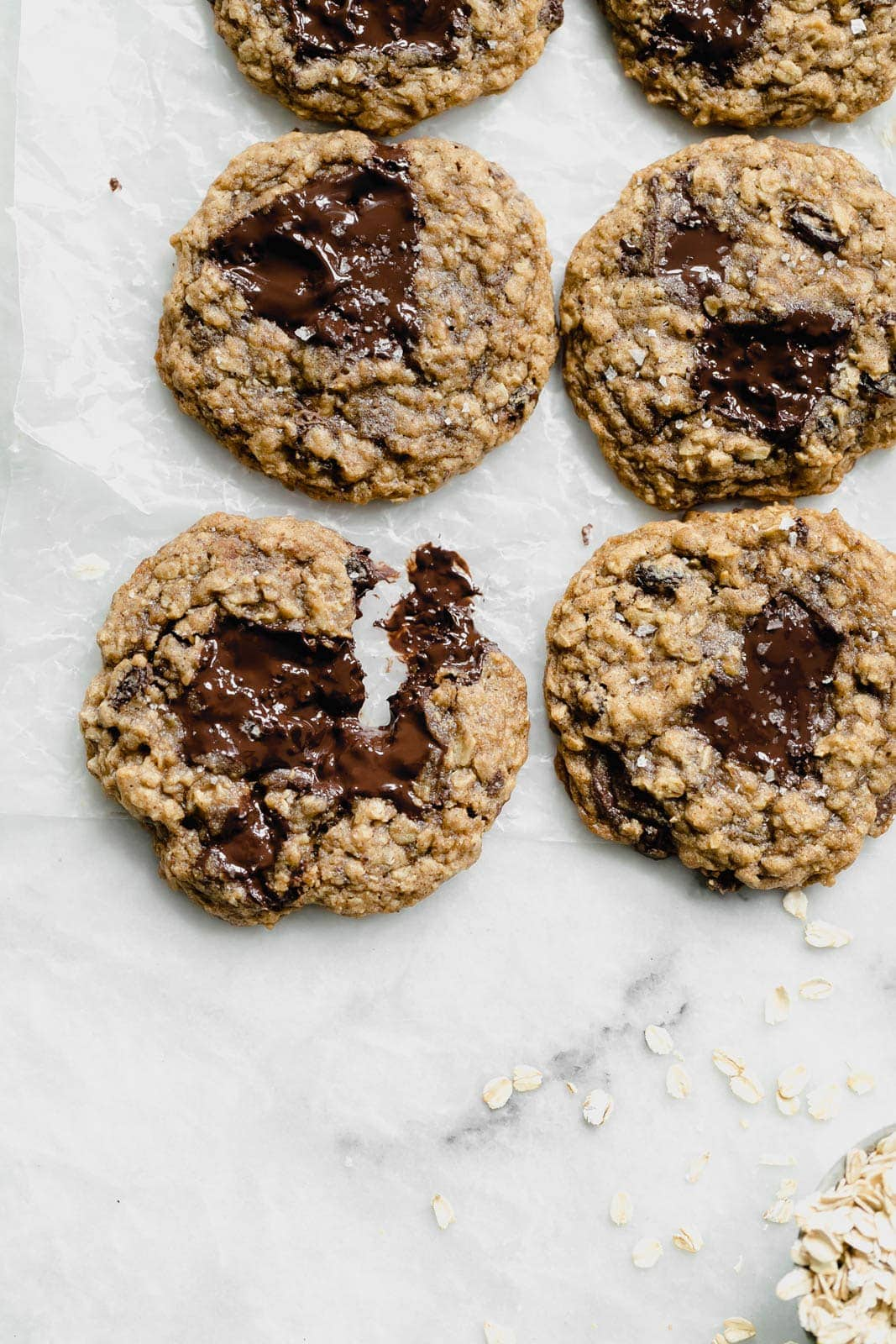 Chewy, soft, and highly addicting, these Giant Bourbon Chocolate Oatmeal Raisin Cookies will be a staple in your house for years to come!