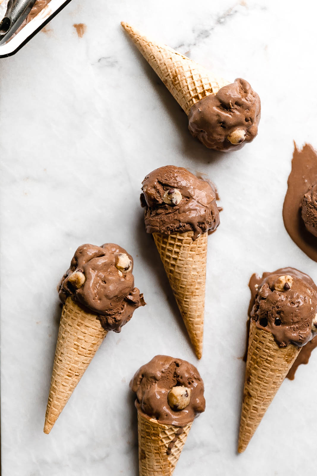 A creamy, dreamy Double Dark Chocolate Cookie Dough Ice Cream made with two types of chocolate and homemade cookie dough pieces.