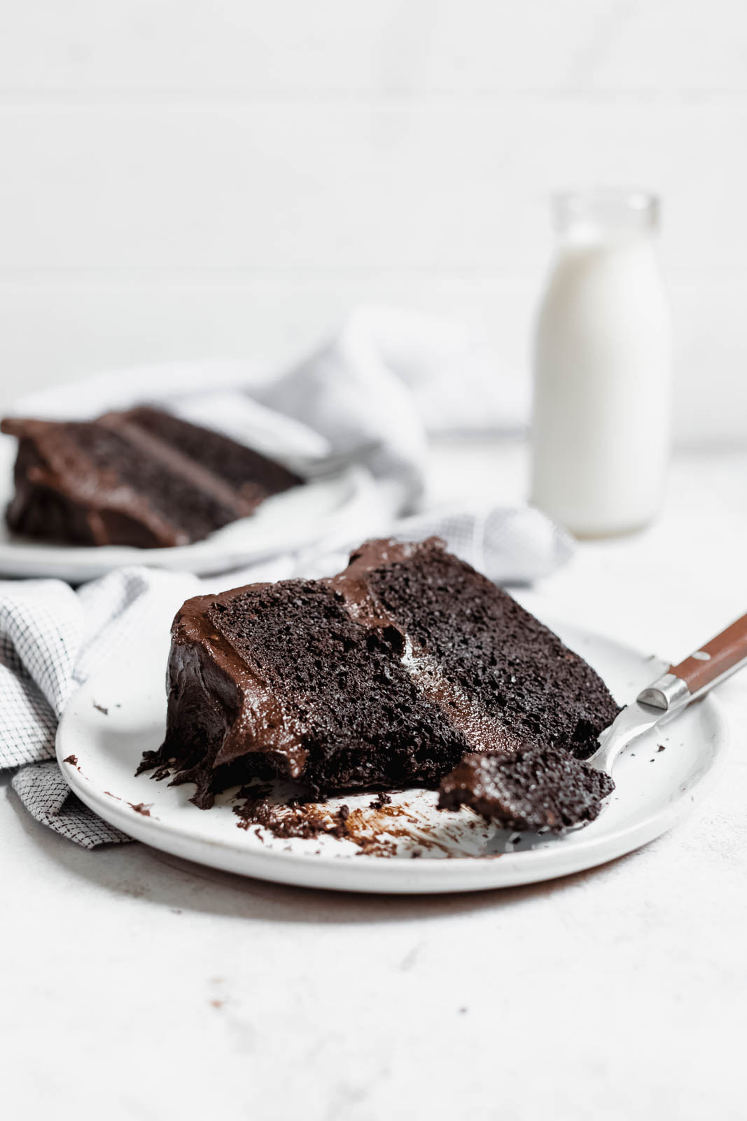 Blackout chocolate cake on plate