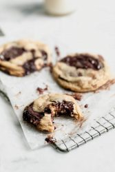 Giant chunks of dark chocolate and candied walnuts make for the most luxurious chewy Candied Walnut Chocolate Chip Cookies! Bonus: no stand mixer needed :)