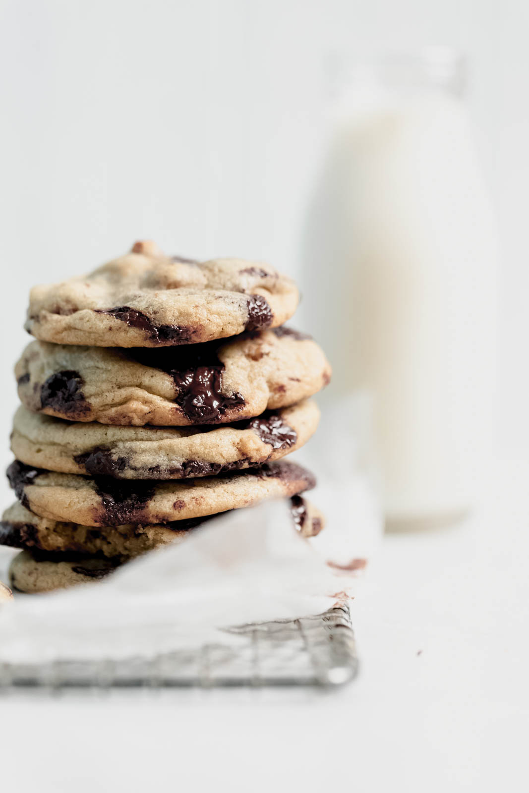 Candied Walnut Chocolate Chip Cookies in a stack