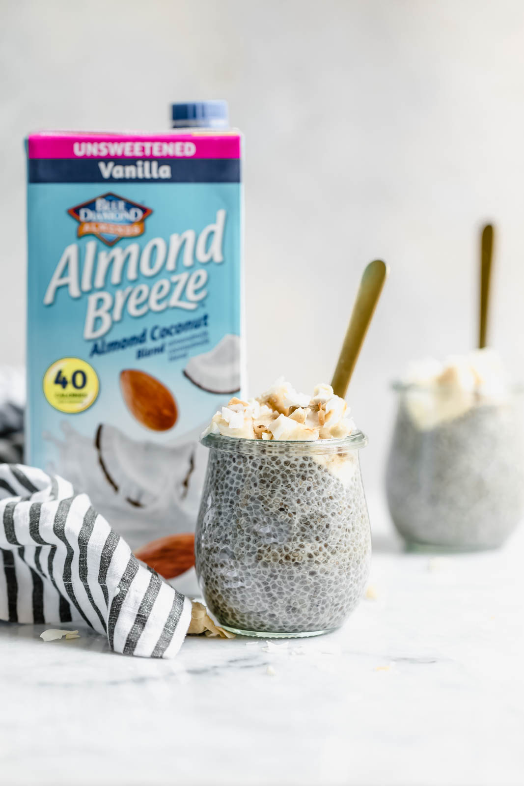 Creamy coconut chia pudding with almond milk