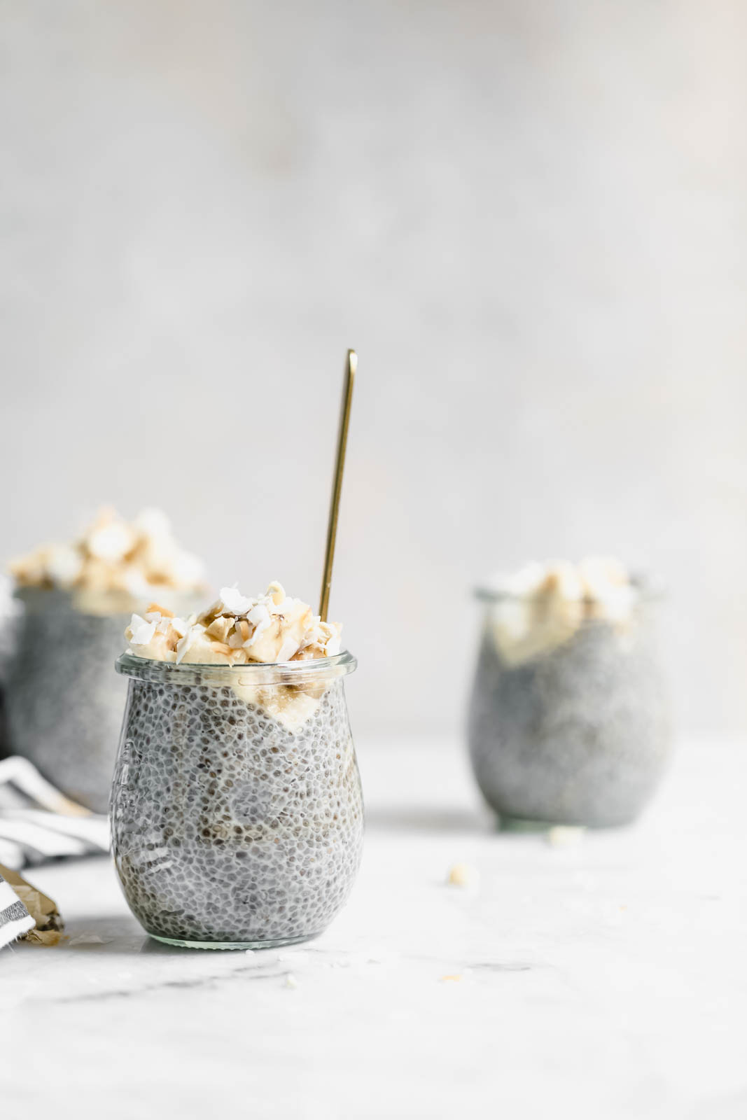 Creamy coconut chia pudding on counter