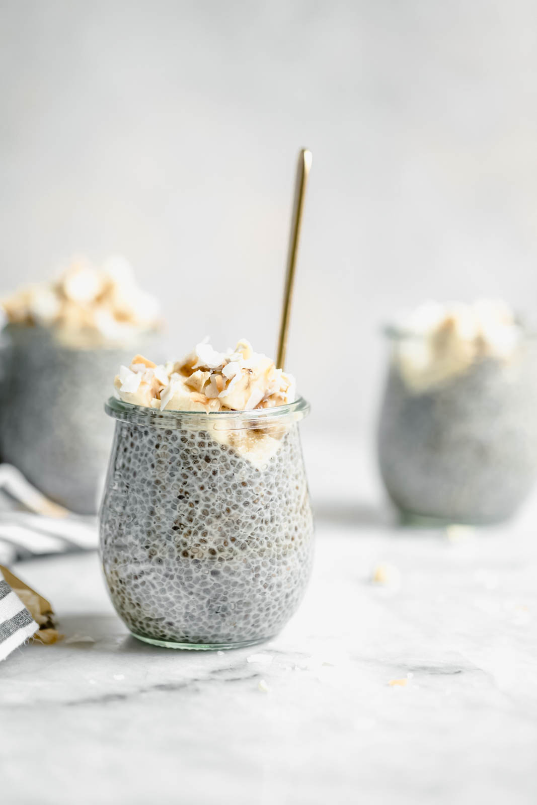 Creamy coconut chia pudding with spoon