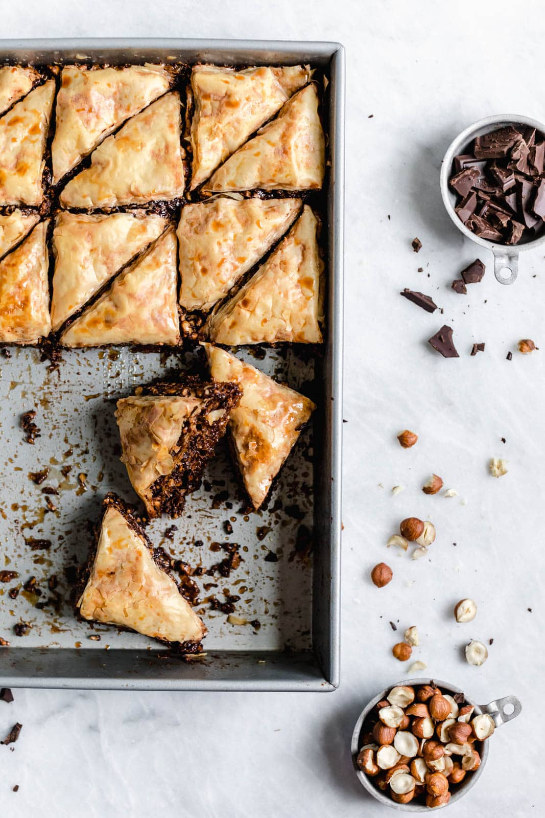 An out-of-this-world Chocolate Hazelnut Baklava soaked in a cocoa nib and honey syrup. From the Sofra bakery cookbook, Soframiz!