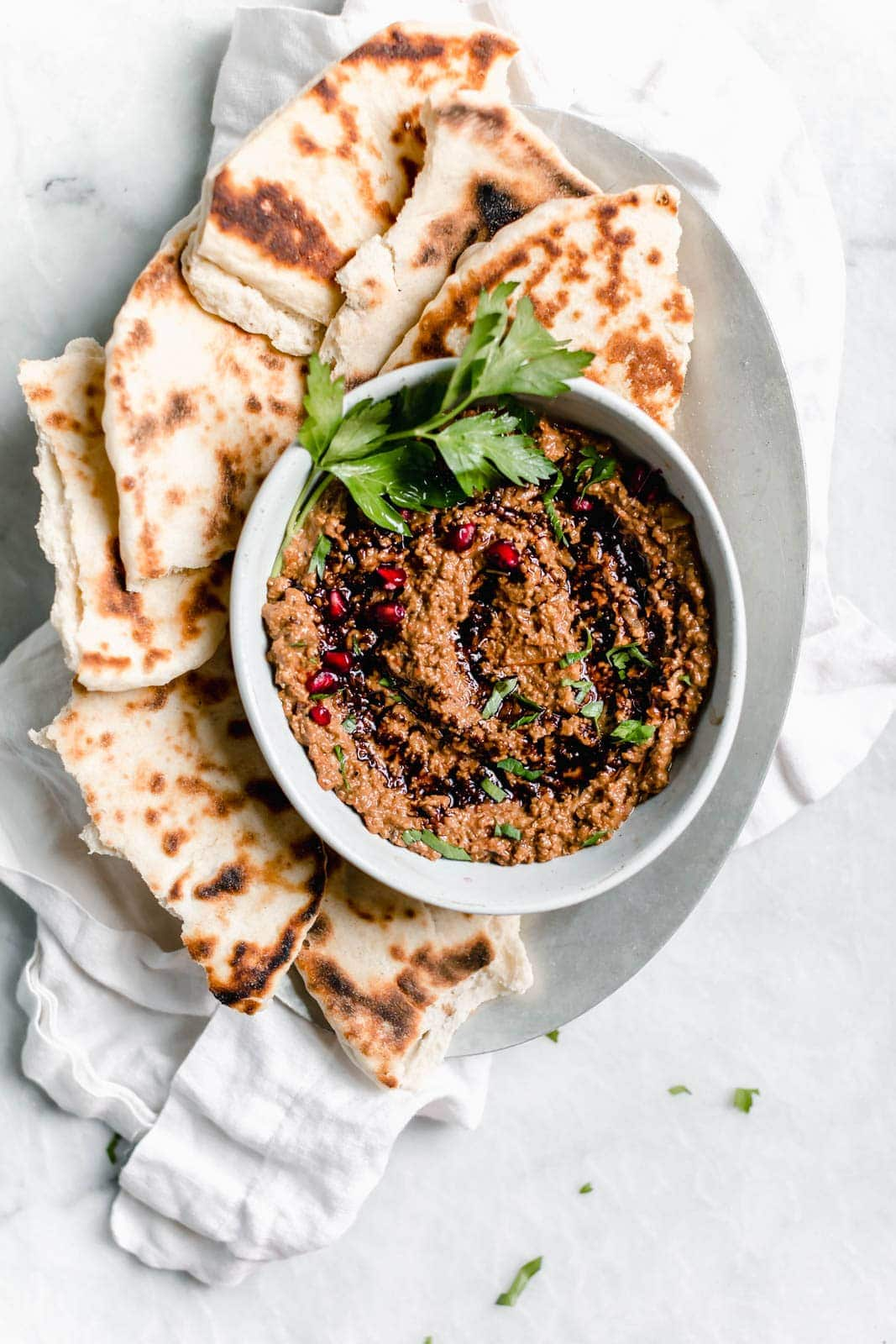 Muhammara (Roasted Red Pepper Walnut Dip) with pita bread