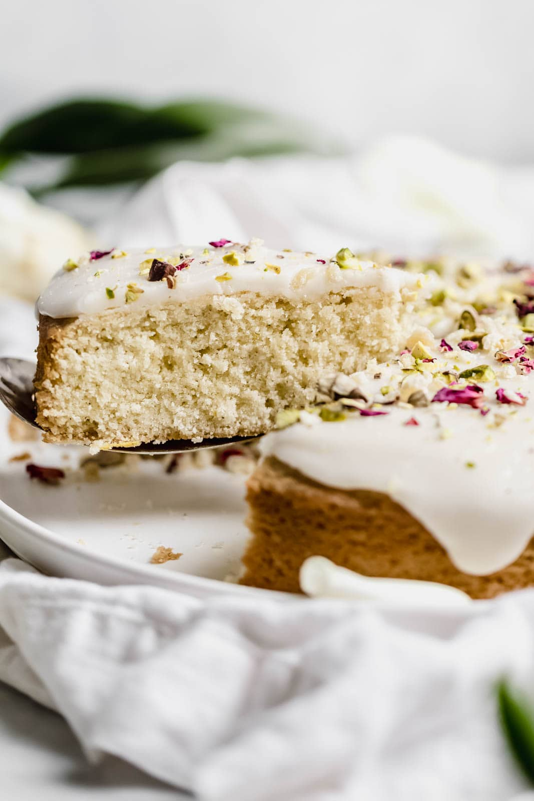 Persian Love Cake slice being removed